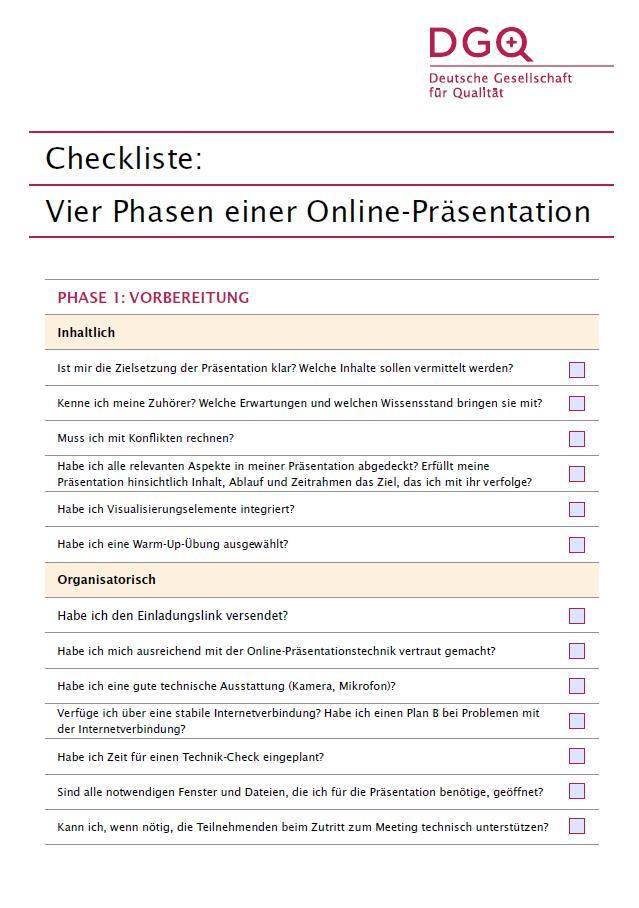 Checkliste Online-Präsentation