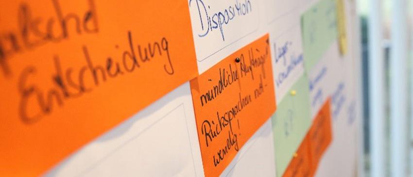 Teilnehmer sammeln Gründe für Prozessmanagement